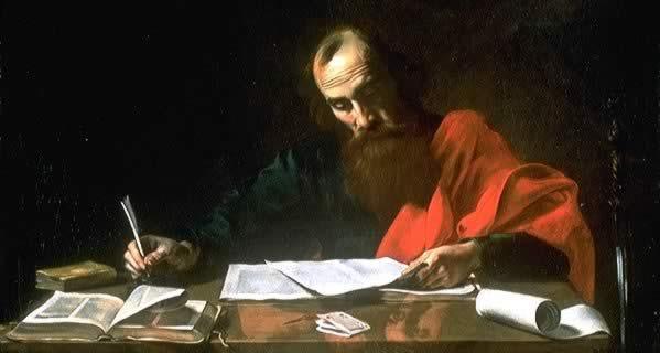 新約聖書の書簡を書くパウロ
