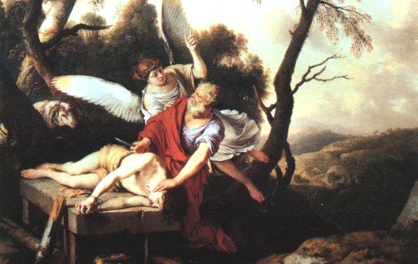 天使にイサク奉献を止められたアブラハム