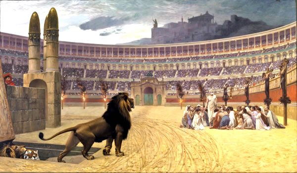 野獣に殺されて殉教の死を遂げるクリスチャンたち