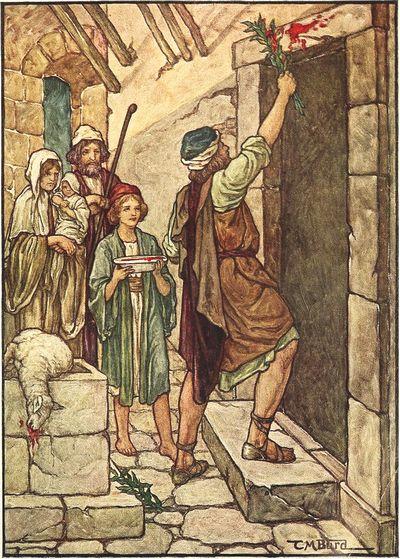 過ぎ越しの子羊の血を門に振り掛けるイスラエル人
